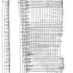 Relevé de fouille du bateau de type « savoyarde », découvert en Saône à Ouroux-sur-Saône (S.-et-L.), 2e moitié du XVIIe siècle, L. conservée 21 m, l. 8 m.