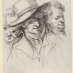 Dominique-Vivant DENON [1747-1825], Autoportrait aux quatre visages, Plume, encore noire, pierre noire sur papier vergé, H. 16,6 cm ; l. 10,6cm. © musée Denon