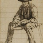 Antonin RICHARD, Paysan assis, XIXe siècle, crayon noir et sanguine, 37,7 x 28,6 cm. © musée Niépce, Sylvain Charles