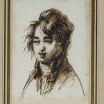 Dominique-Vivant DENON [1747-1825], Portrait de jeune homme échevelé, XIXe siècle, Plume et encre brune, lavis brun, esquisse à la pierre noire, H. 17,5cm ; l. 11,3cm. © musée Denon