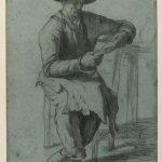 Antonin RICHARD, Paysan lisant, XIXe siècle, crayon noir sur papier bleu, 48,7 x 32,7 cm. © musée Niépce, Sylvain Charles