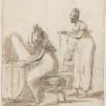 Dominique-Vivant DENON [1747-1825], Madame de Perregaux assise devant une coiffeuse, XIXe siècle, Plume, encre brune, lavis brun, pierre noire, H. 14,8cm ; l. 12cm. © musée Denon