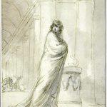 Dominique-Vivant DENON [1747-1825], Vestale (Attitude d'Emma Hart, Lady Hamilton), Fin du XVIIIe siècle, Plume, encre brune, lavis gris, H. 20,1cm ; l. 15cm. © musée Denon