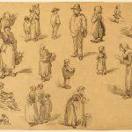 Antonin RICHARD, Études de personnages, XIXe siècle, crayon noir, 16,8 x 21,1 cm. © musée Niépce, Sylvain Charles