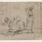 Dominique-Vivant DENON [1747-1825], La Fessée ou Artiste au « travail », Début du XIXe siècle, Plume, encore noire, H. 13,9cm ; l. 18,7cm. © musée Denon