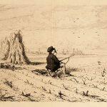 Jules CHEVRIER, La Chasse aux alouettes, 1868, gravure, 27,3 x 36 cm. © musée Denon