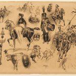 Léon GAMBEY, Études de cavaliers, début XXe siècle, plume et encre noire sur papier, 28,2 x 39 cm. © musée Denon