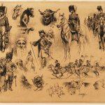 Léon GAMBEY, Études de personnages, début XXe siècle, plume et encre noire sur papier, 28,2 x 39 cm. © musée Denon