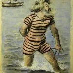 Noël DORVILLE, Le Premier bain de Camille, début XXe siècle, plume et encre noire, aquarelle sur papier, 61,7 x 49,8 cm. © musée Denon