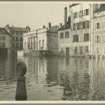 Vue de la place de l'Hôtel-de-Ville de Chalon-sur-Saône durant les inondations de 1989
