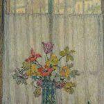 Henri Le SIDANER, Bouquet de fleur devant la fenêtre, 1936, huile sur toile, 68 x 90 cm. © musée Denon