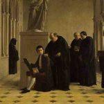 Philippe JOLYET, Le jeune Prud'hon, recueilli et élevé par les moines de Cluny, est surpris copiant les tableaux de l'abbaye, 1863, huile sur toile, 89 x 116 cm. © musée Denon