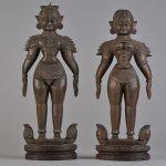 La déesse Sitā et le dieu-héros Rama,  Bois sculpté, Inde, Collection du capitaine Cornu. © musée Denon