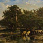 Charles JACQUE, Les Bœufs à l'abreuvoir, 1848, huile sur toile, 78 x 111 cm. © musée Denon / Philip Bernard