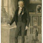Jean-Baptiste MAUZAISSE [1784-1844], CAMOIN, d'après René BERTHON [1776-1859], Portrait de Denon au milieu de sa collection, Début du XIXe siècle, Lithographie colorée en contrepartie, H. 47,5cm ; l. 31,6cm. © musée Denon