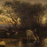 Antonin RICHARD, vaches au bord de l'eau, huile sur bois, 9,5 x 21 cm. © musée Denon / Philip Bernard