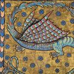 France, XIIIe/XIVe s. Fragment d'une page d'un manuscrit enluminé : Lettre 'S' en forme de dragon à deux têtes Peinture sur parchemin Chalon-sur-Saône, musée Denon © musée Denon / Photographie : Philip Bernard