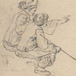 Jean-Baptiste HILAIRE, Deux Turcs assis, XVIIIe siècle, pierre noire, plume et encre noire sur papier vergé, 22,6 x 15,3 cm. © musée Niépce, Sylvain Charles