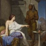 Henri-Blaise-François DEJUSSIEU, Cléopâtre et l'esclave, 1863, huile sur toile, 81 x 65 cm. © musée Denon / Philip Bernard