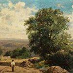 Antoine Claude CINIER, dit PONTHUS-CINIER, Le plateau Bressan, vu des hauteurs de Saint-Germain (Rhône), vers 1881, huile sur carton, 25 x 31. © musée Denon / Philip Bernard