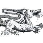 Bourgogne, XIXe s. Gravure : Monstre avalant un humain Bois gravé imprimé sur papier Chalon-sur-Saône, musée Denon © musée Denon
