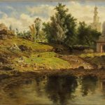 Adrien DAUZATS [1804-1868]  Le Gué, ruisseau à Blidah, 1861 Huile sur toile