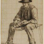 Antonin RICHARD [1822-1891], Paysan assis, Crayon noir sur papier noir, mise au carreau à la sanguine, 37,7x28,6 cm
