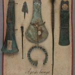 Série d'objets en alliage cuivreux,  datés des âges du Bronze et du Fer (bracelet),  provenant des dragages dans la Saône, à Chalon et environs au XIXe et début XXe siècle