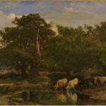 JACQUE Charles-Emile [1813-1894] Les Bœufs à l'abreuvoir Huile sur toile