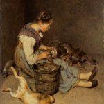 Philibert-Léon COUTURIER [1823-1901], La Pourvoyeuse, 1892, Huile sur toile, 83x63 cm