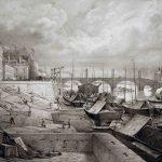 Emile SAGOT [1805-1888],  Vue du quai des Messageries à Chalon-sur-Saône, XIXe siècle, Lithographie, © musée Denon